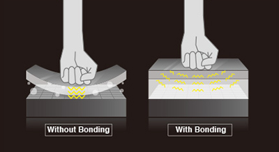 deflection reduction optical bonding touch sensors