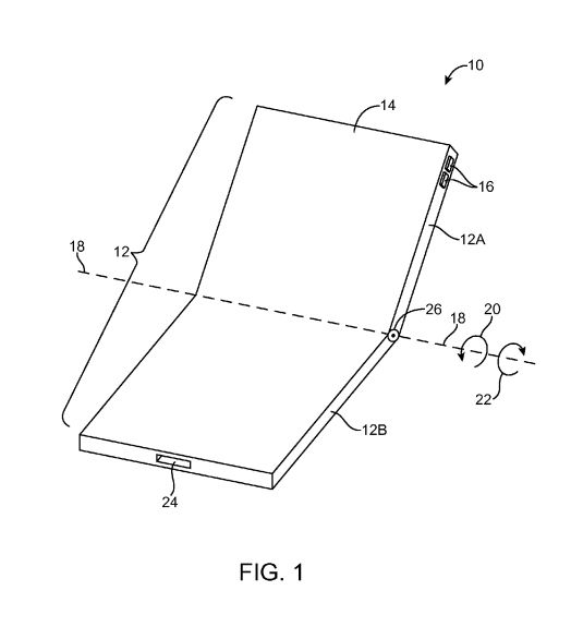 Figure from Apple's foldable patent.